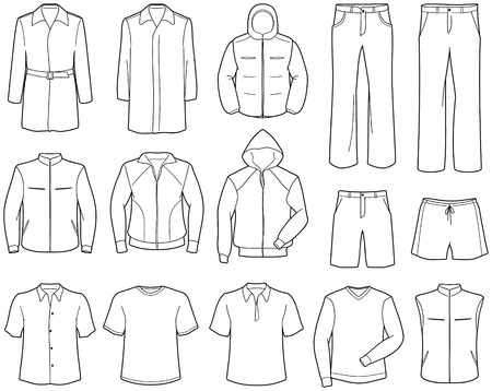 warm clothing: Mens casual clothes and sportswear Illustration