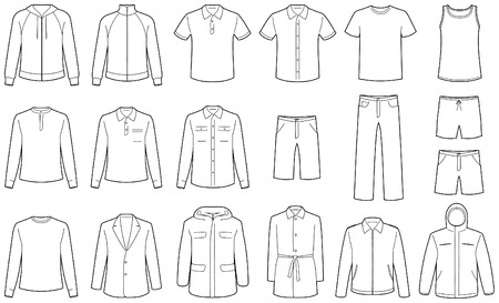 outwear: Mens clothes isolated Illustration