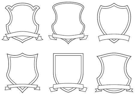 shield emblem: Insieme di simboli vettoriali, scudi e pergamene