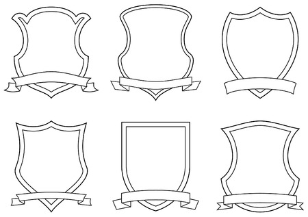 Set of vector emblems, shields and scrolls Illustration
