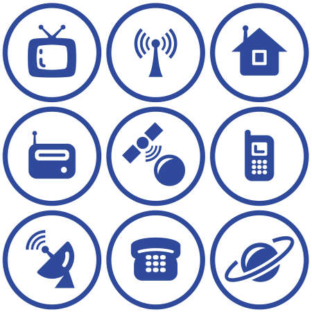 satellite tv: Media - Vector Icons Set