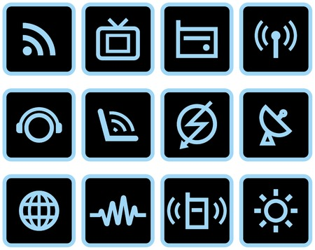 telecommunication tower: Media & Communications  - Vector Icons Set