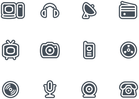 Media, Electronics & Communications  - Vector Icons Set Stock Vector - 4971727