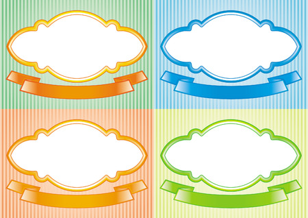 Vector emblems isolated on white background, can be used for package design etc. Vector