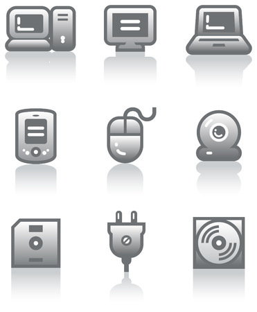 diskette: Web icons set – Hardware (Vector) Illustration
