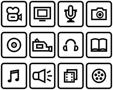 photocamera: Media - Vector Icons Set