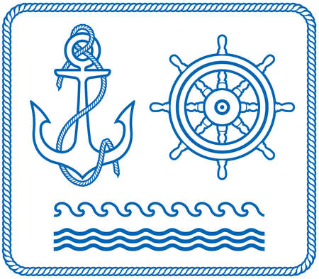 Anchor and Helm. Nautical designs Vector
