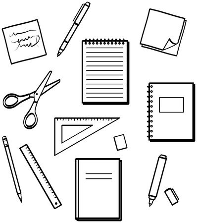 straightedge: Office supplies - Vector illustrations