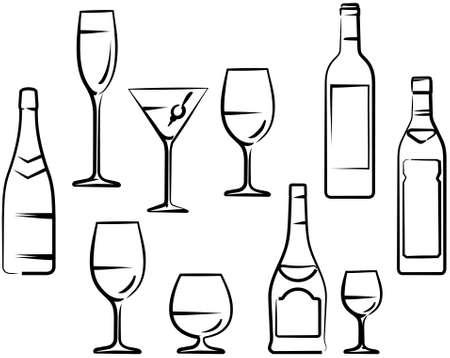 bouteille champagne: Verres et bouteilles Illustration
