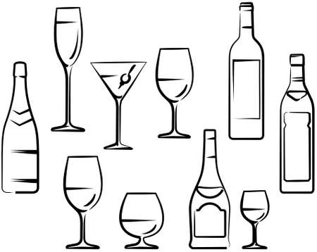 martini glass: Wineglasses and Bottles Illustration
