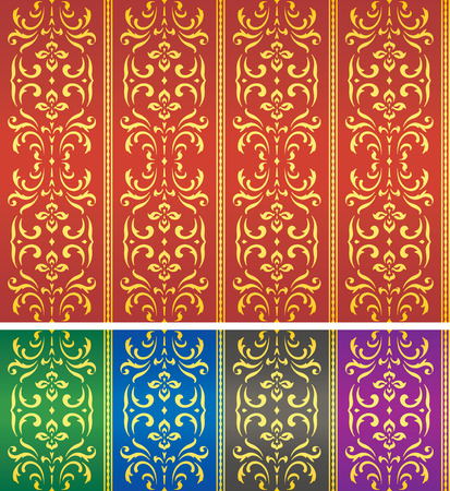 portiere: Retro damask textile or wallpaper pattern – color versions Illustration