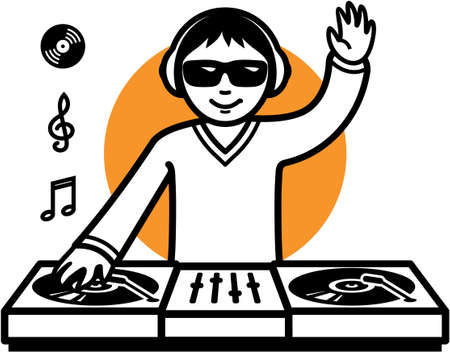 dj turntable: Party DJ at turntable illustration