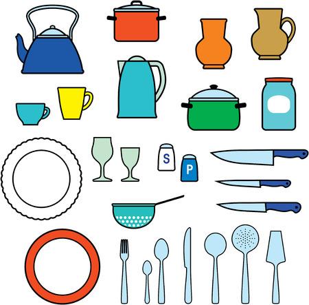瀬戸物: 台所用品、台所用品 - ベクトル イラスト  イラスト・ベクター素材