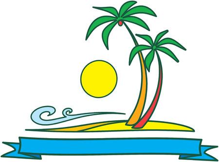 palmtrees: Sol ? de ilustraci�n vectorial, el mar y el dise�o de la naturaleza tropical aislados sobre fondo blanco
