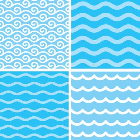 대양의: Marine motives - water wave seamless patterns