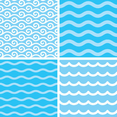 Marine motives - water wave seamless patterns Vector