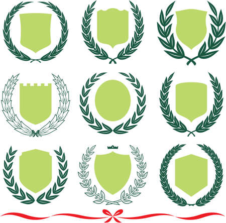 olive wreath: Insignia designs set – shields, laurel wreaths and ribbons. Vector illustrations isolated on white background