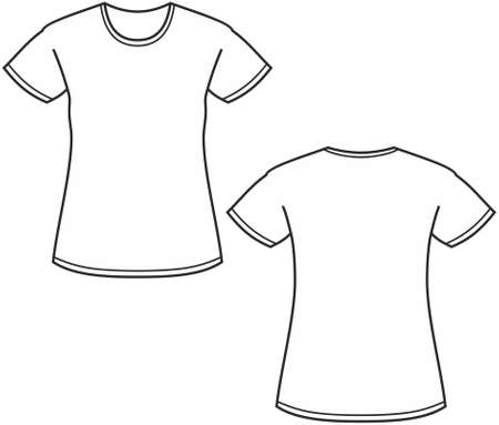 tee shirt template: Womens t-shirt illustration isolated on white
