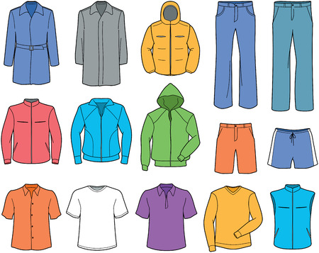 warm clothing: Men casual clothes and sportswear illustration