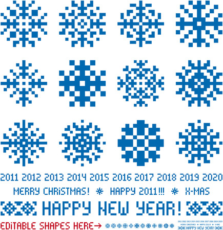 pixel art: Snowflakes in pixel style. Christmas and New Year greetings 2011-2020
