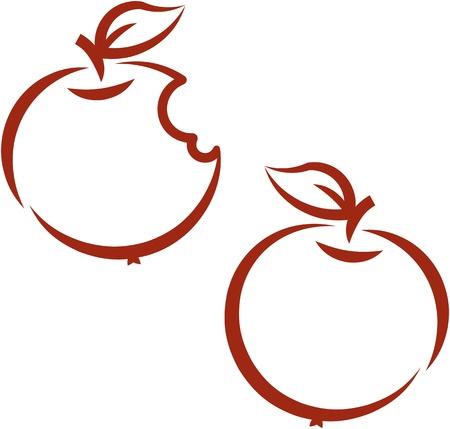 bitten: Apple mordida, manzana fresca: ilustraci�n vectorial Vectores
