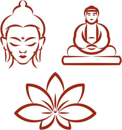 buddha face: Buddha and Lotus -Symbols of Buddhism . Vector illustration