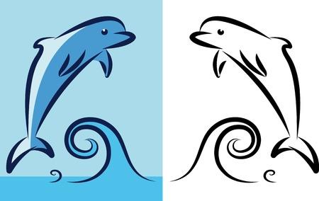 Little dolphin at sea. Vector illustration Vector