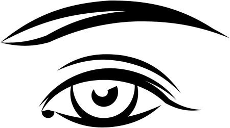 eyebrow makeup: Bella occhio femmina. Illustrazione vettoriale