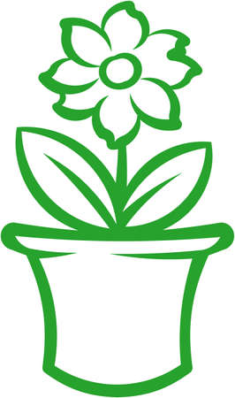 flowers in vase: Flower pot with green plant. Vector illustration