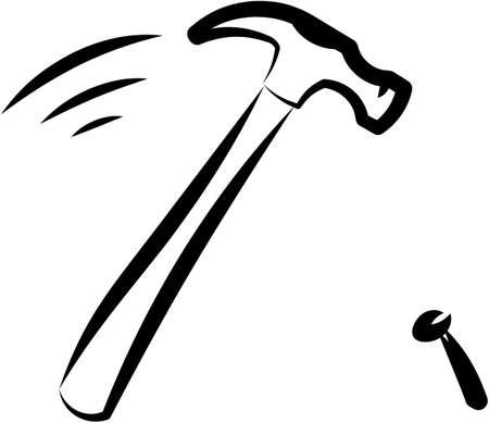 nail: Hammer and nail. Vector illustration