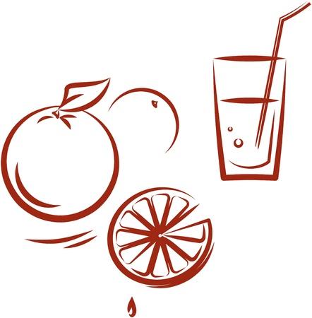 lemonade: Glass of orange juice. Vector illustration