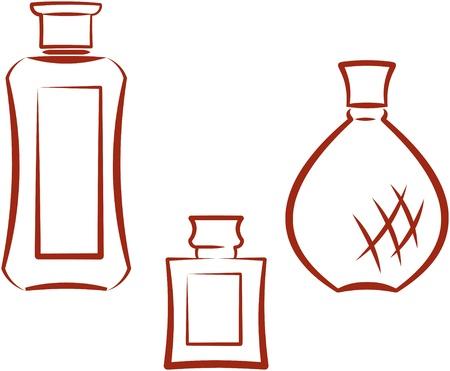 fragrances: Perfume bottles. Vector illustration
