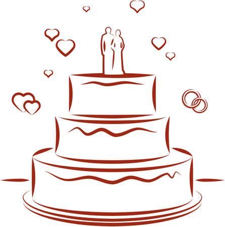 boda pastel: Pastel de boda. Ilustraci�n vectorial