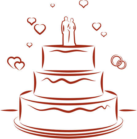 Wedding cake. Vector illustration Vector