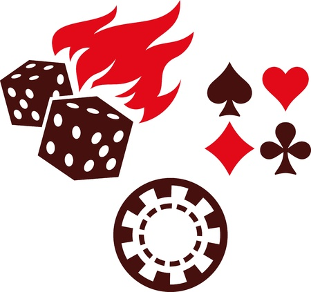 dices: Vector gambling items – dice, playing cards and casino chips Illustration