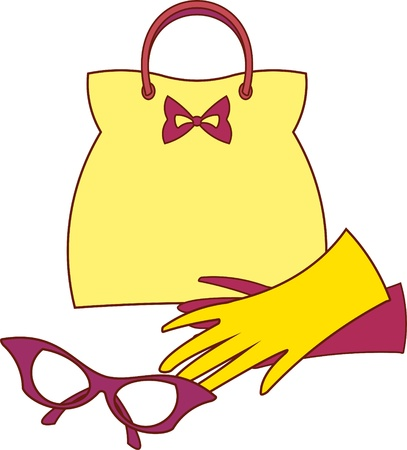 accessory: Women's accessories - Handbag, Gloves and Glasses (Vector) Illustration