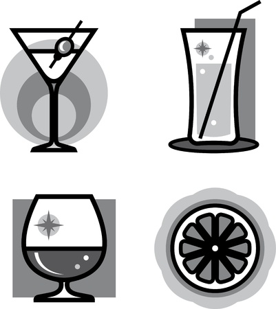 Glasses of cocktails and drinks – Vector illustration Vector