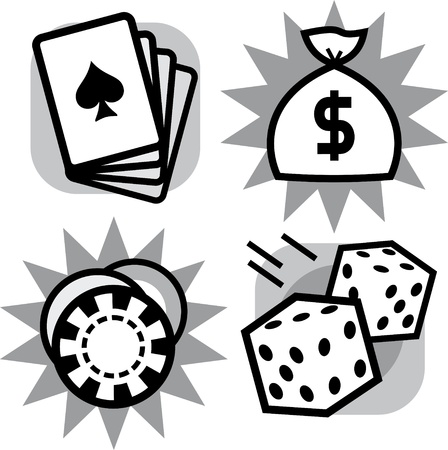Vector gambling items – dice, playing cards and casino chips Vector