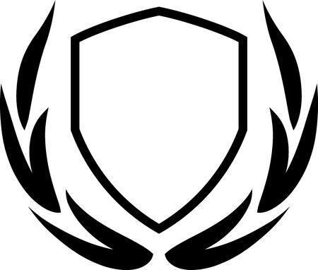 escudo de armas: Vector escudo de armas y corona de laurel aislados Vectores