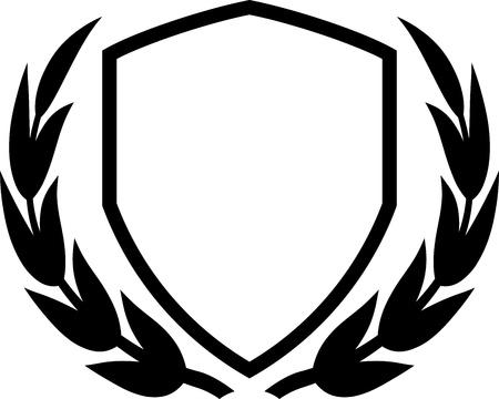 escudo de armas: Vector escudo y la corona de laurel aislados en blanco