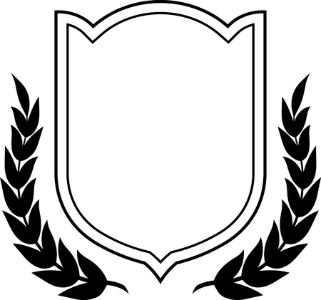 Laurel wreath and shield isolated  Vector