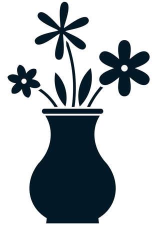 ramo de flores: Manojo de las flores en el florero ilustraci�n vectorial aislado Vectores