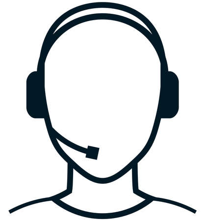 customer care: Customer care service representative person head in headset icon isolated