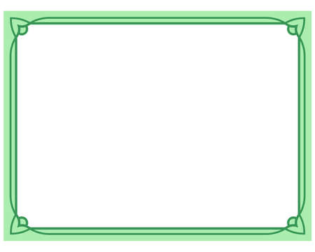 line design: Green border frame deco vector art simple line corner