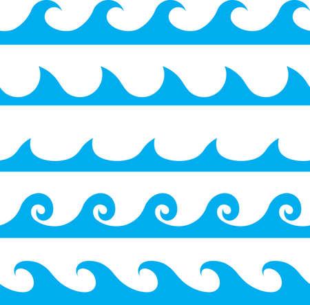 vague: motif de ligne de vague bleue vecteur Seamless Illustration