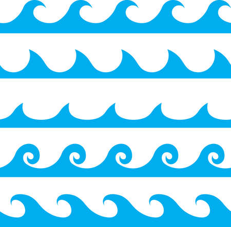 sea wave: Seamless vector blue wave line pattern