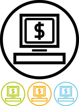 e commerce icon: Vector icon isolated on white - Computer web business