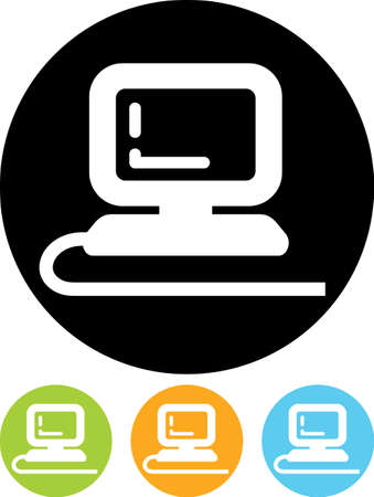 plugged: PC desktop computer - Vector icon isolated