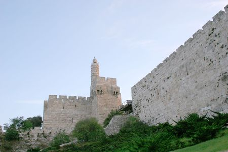 The Tower of David is Jerusalems citadel, a historical and archaeological site of world importance. photo