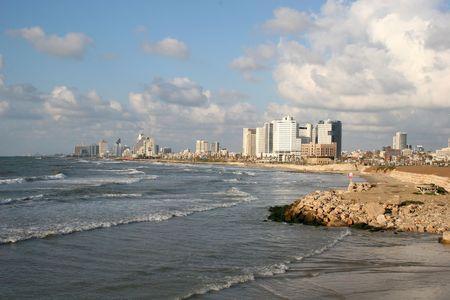 jaffa: The coastline of Tel-Aviv as seen from the Jaffa port in Israel